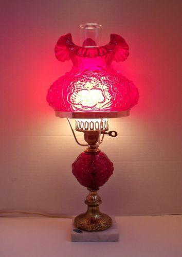Fenton Red Lamp Ebay