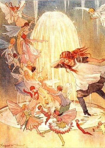 Margaret Tarrant Art Card Fairies and Girl Play in Fountain
