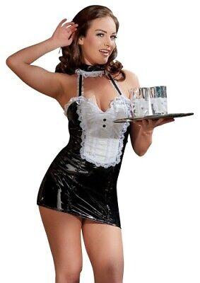 Lack Kleid Dienstmädchen Schwarz sexy Kostüm Erotik Fetisch Rollenspiel L XL