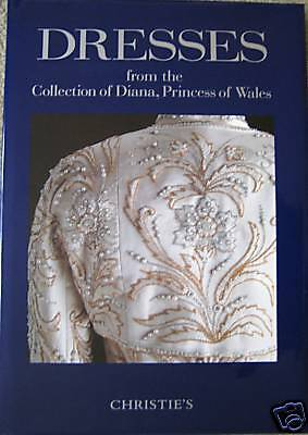 HC CHRISTIE'S Princess Diana Dresses Auction Catalog+Strip of 5 UK Diana Stamps