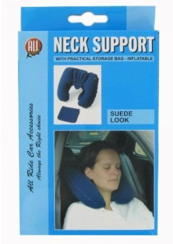 INFLATABLE FLOCK NECK REST CUSHION TRAVEL PILLOW HEAD SUPPORT WITH VELOUR COVER