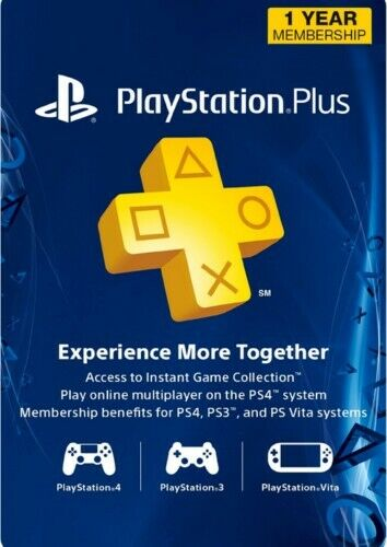 Sony PlayStation Plus 1 Year Subscription Membership Card (Digital Code)