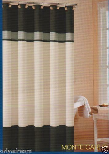 black white gray shower curtain ebay. Black Bedroom Furniture Sets. Home Design Ideas