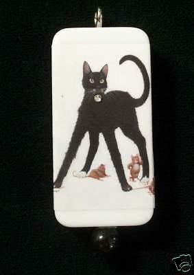 Big Black Cat And Mice Domino Pendant