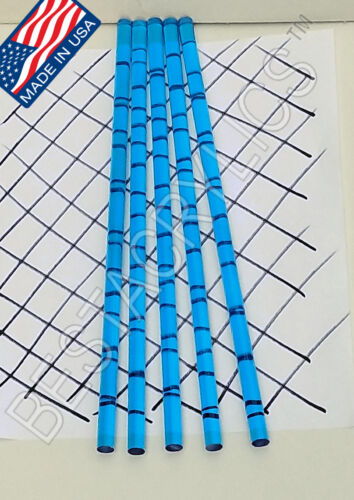"5 CLEAR BLUE 3/8"" DIAMETER 12"" INCH LONG ACRYLIC PLEXIGLASS LUCITE COLOR ROD"