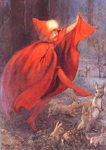Margaret Tarrant Art Card Red Riding Hood Dances With Rabbits