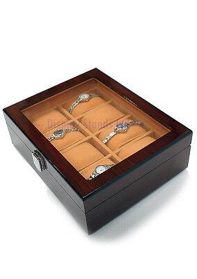 Wood Effect Watch Storage Display Box Case Organiser 8 Grids CLEARANCE (RWD8)