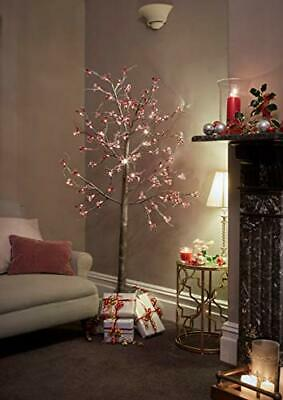 JayMark Snowy Effect Brown Christmas Pre Lit Twig Tree 6ft with Berries for