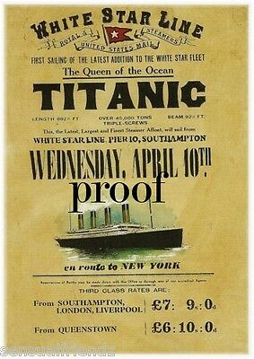 Titanic Poster White Star Ship Ocean Liner Memorabilia advertising UK ad 1912 4