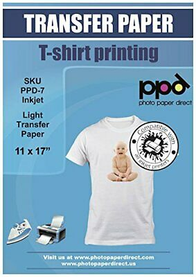 Ppd Inkjet Iron-on Light T Shirt Transfer Paper 11x17 Pack Of 10 Ppd007-10
