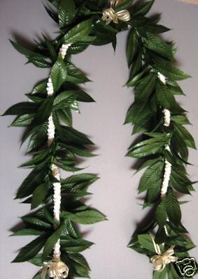 Hawaiian White Rattail Pikake Flower Silk Maile Lei (Maile Lei)