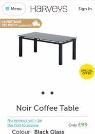 black Harveys coffee table center table glass table