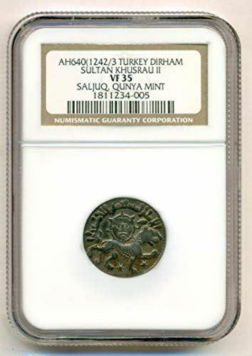 Rum (modern Turkey) Khusrau II AD 1237-46 Silver Dirham VF35 NGC