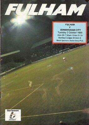 * COLLECTION OF 25 x FULHAM 1990/91 HOME PROGRAMMES*