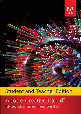 Adobe Creative Cloud Student And Teacher Edition  1 Year Prepaid Subscription