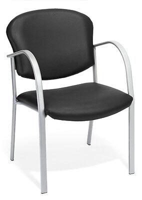 Ofm Model 414-vam Black Vinyl Stackable Reception Guest Side Office Chair