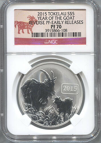 2015 Tokelau Silver $5 - Year of Goat - Early Releases - Rev Proof - NGC PF70
