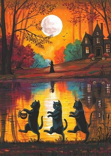 ACEO PRINT OF PAINTING RYTA WITCH BLACK CAT AUTUMN HALLOWEEN HAUNTED HOUSE ART