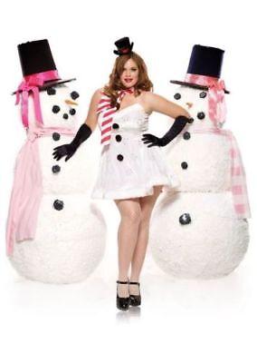 Winter Wonderland Costume (Miss Winter Wonderland Claus Santa Christmas Dress White Costume 2pc Set ADULT)