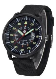 Military Black Dial Quartz Wrist Watch With Date & Illumination
