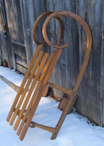 Antique snow sled ebay for Vintage sleds