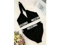 Reworked Moschino black halterneck bandage bikini crop top kylie jenner black size 10