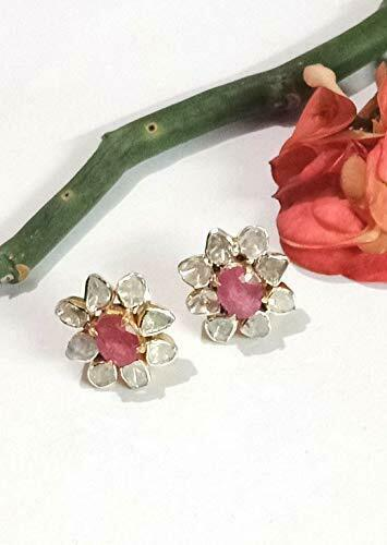 925 Silver Polki Diamond Earrings Ruby Antique Victorian Style Stud Jewelry