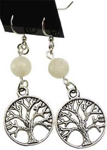 Tree of Life Earrings in Pewter with Moonstone Beads!