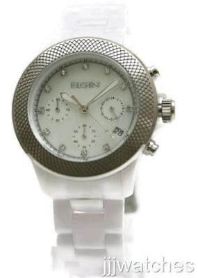 New Elgin Chrono White Acrylic band Pearl Dial Date Women Watch 40mm EG7040W Dial Acrylic Date Watch