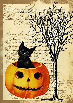 Halloween Black Cat Pumpkin ATC Quilt Block Multi Sz FrEE ShiPPinG WoRldWiDE](Halloween Atcs)