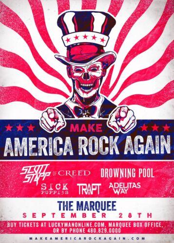 "SCOTT STAPP OF CREED ""MAKE AMERICA ROCK AGAIN"" 2017 PHOENIX CONCERT TOUR POSTER"