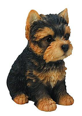 (Sitting YORKSHIRE TERRIER Puppy Dog - Life Like Figurine Statue Home/ Garden NEW)