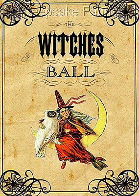 Halloween Witches Ball ATC Fabric Quilt Block Multi Sz FrEE ShiPPinG WoRldWiDE](Halloween Atcs)