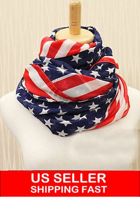 Scarf Pattern - Fashion Women's Big USA American Flag Pattern Sunscreen Shawl Scarf