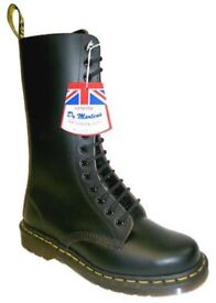 NEW IN BOX NBW Made in England Dr martens 14 eyelet B1914Z Black Leather Boots size UK 3 EU 36