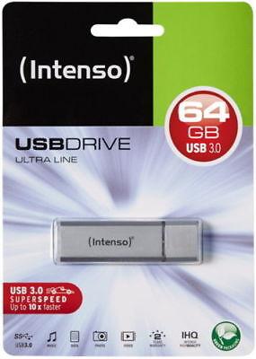 Intenso Ultra Line 64 GB USB 3.0 Stick Speicher 64GB UltraLine silber 3531490