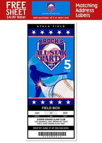 Baseball Ticket Invitations | eBay