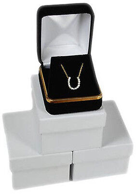3 Piece Black Velvet Necklace Earrings Jewelry Gift Boxes 1 78 X 2 18