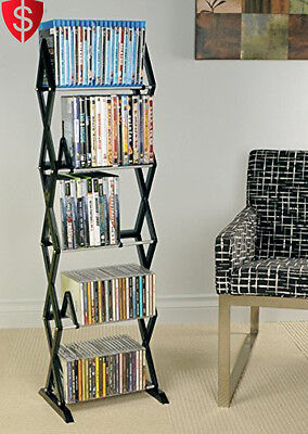 Media Storage Rack DVD CD Shelf Organizer Multimedia Shelves Holder Stand 5 Tier
