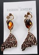 Brown Rhinestone Earrings