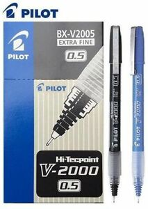 Pilot-Needlepoint-0-5-Liquid-Ink-Rollerball-Pen-Black-Blue-Rubber-Grip-V5