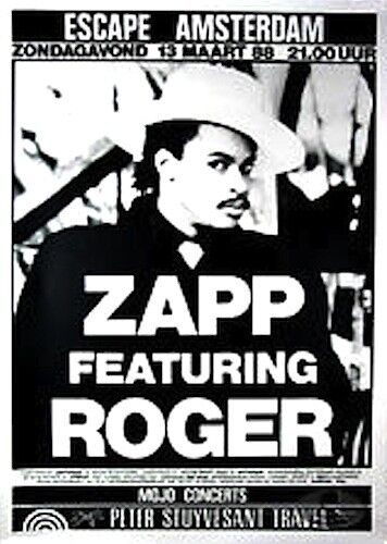 ZAPP & ROGER 1988 VIBE TOUR ORIGINAL AMSTERDAM CONCERT POSTER / VG 2 EXCELLENT