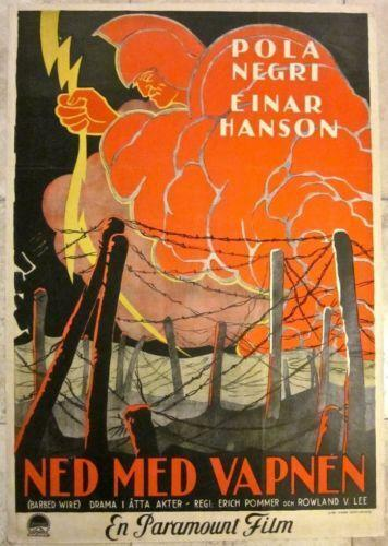 """Barbed Wire (1927) 27.5"""" x 39.5"""" Swedish Movie Poster"""