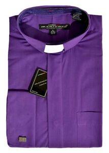 New mens purple clergy tab collar shirt bishop pastor for Mens tab collar dress shirts