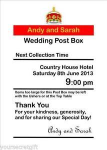 wedding post box signs