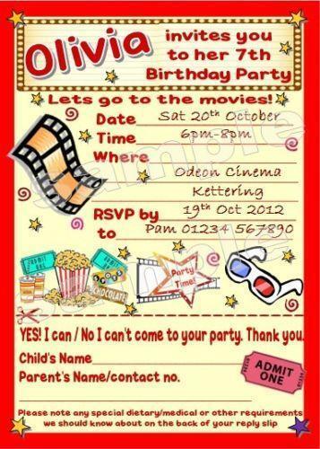 Cinema Party Invitations: Cards & Stationery | eBay