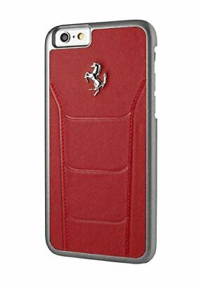 Ferrari 488 iPhone 7 Hard Case -Genuine Leather -Red -Silver Logo