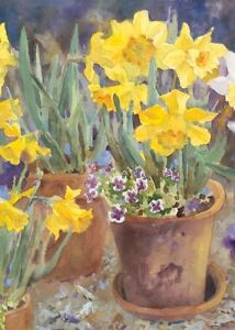 New Toland Home Garden Potted Daffodils House Large Flag