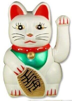 "white Feng Shui BECKONING CAT Wealth Lucky Waving Kitty Maneki Neko 5"" Tall"