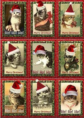 Christmas old-fashioned inspired tags cards cats scrapbooking crafts set of 9